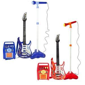 Dječja električna gitara, mikrofon i pojačalo