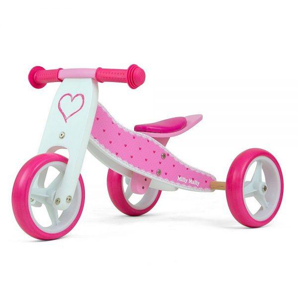 Drveni bicikl guralica 2 u 1 Milly Mally Srce