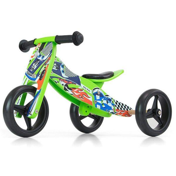 Drveni bicikl 2 u 1 Milly Mally zeleni