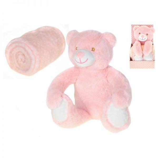 Plišani medo s dekicom ružičasti