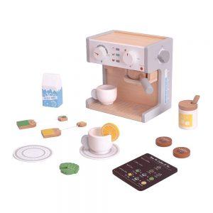 Drveni aparat za kavu s dodacima